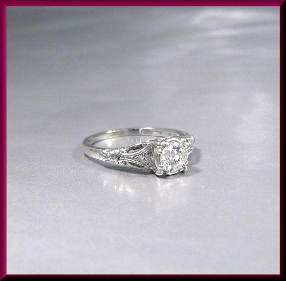 Antique Vintage Art Deco Platinum Old European Cut Diamond Wedding