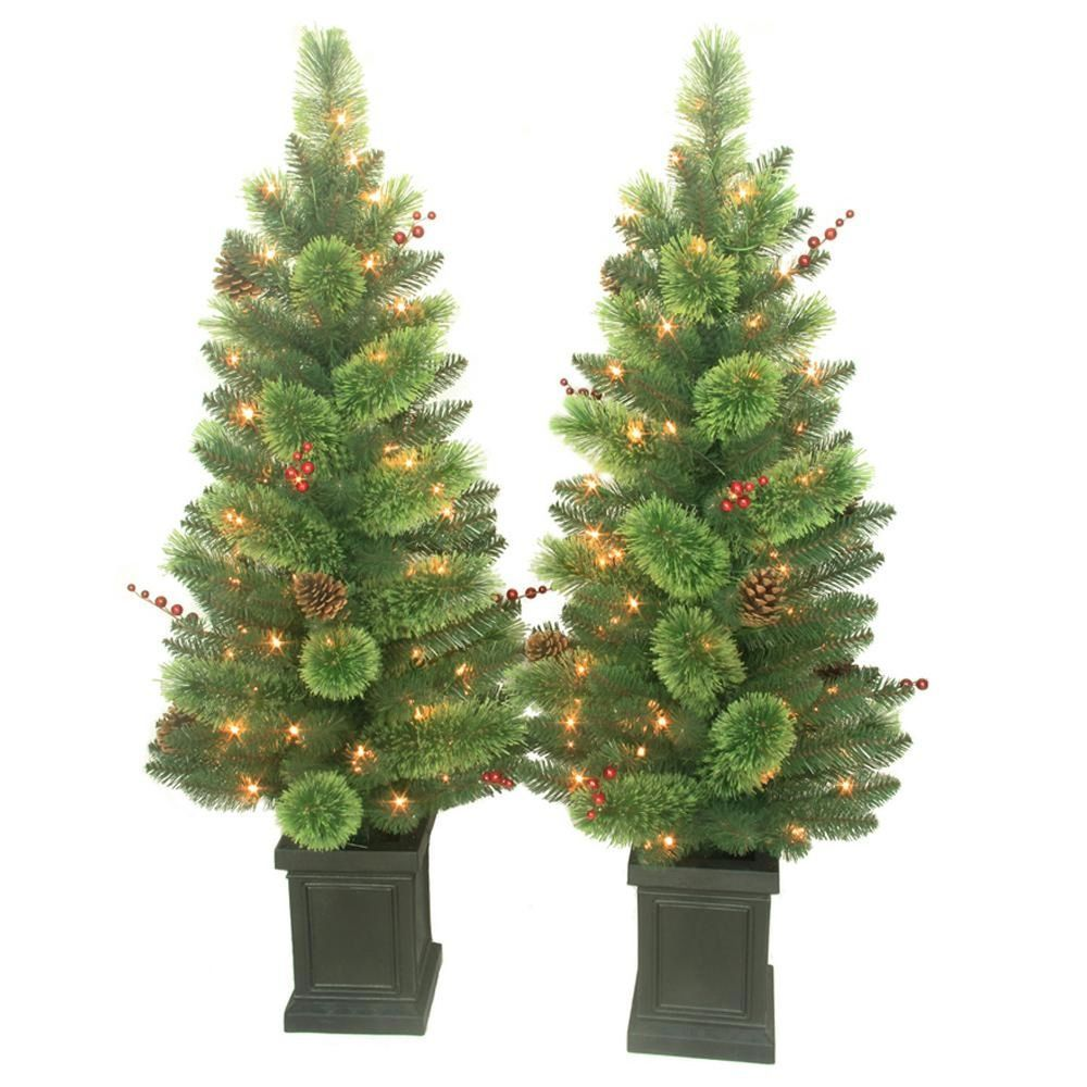 2 Pack 4 Ft Pre Lit Artificial Christmas Tree Deco Pine Cones Berry W Lights With Images Porch Trees Potted Christmas Trees Artificial Christmas Tree