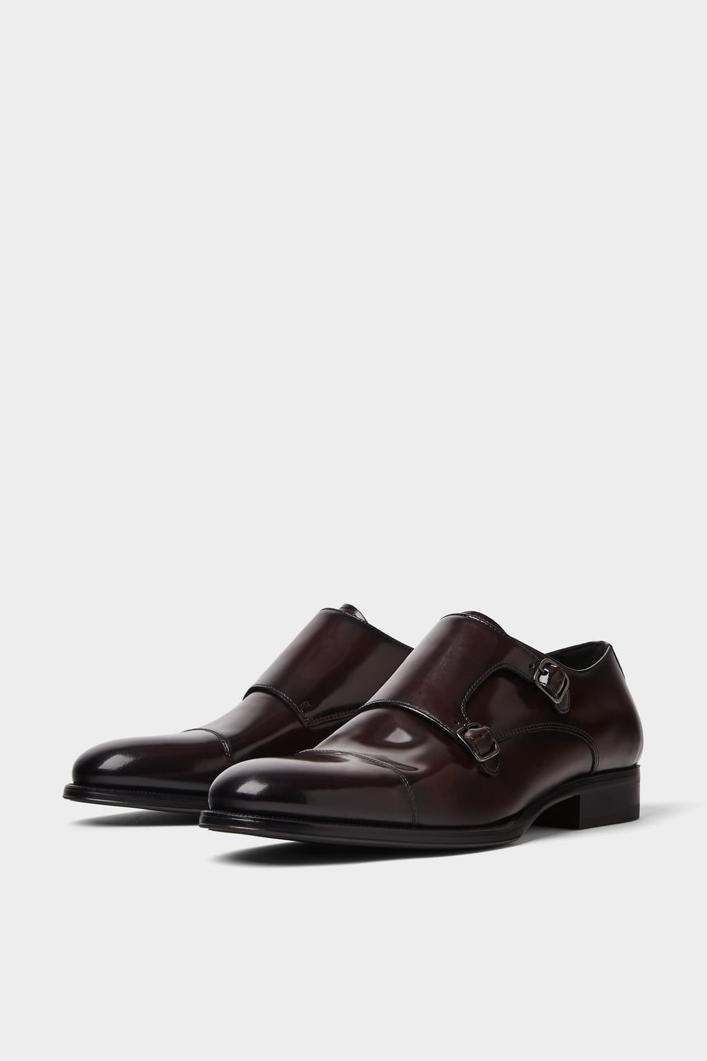 07519985 Image 4 of BURGUNDY LEATHER DOUBLE-STRAP MONK SHOES from Zara £80.00