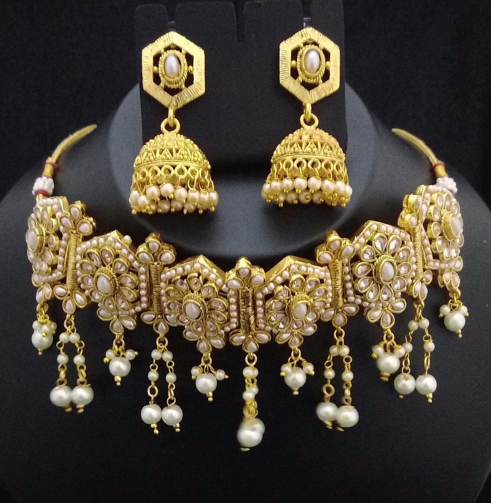 Designer 18K GP Bollywood Padmavati Style CZ White Pearl Bridal 3p