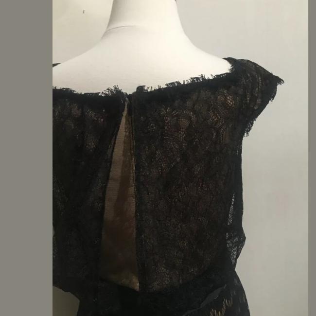 Tadashi Shoji Black W Nude Lace W/Biw Tie 10p Mid-length Cocktail Dress Size Petite 10 (M) - Tradesy