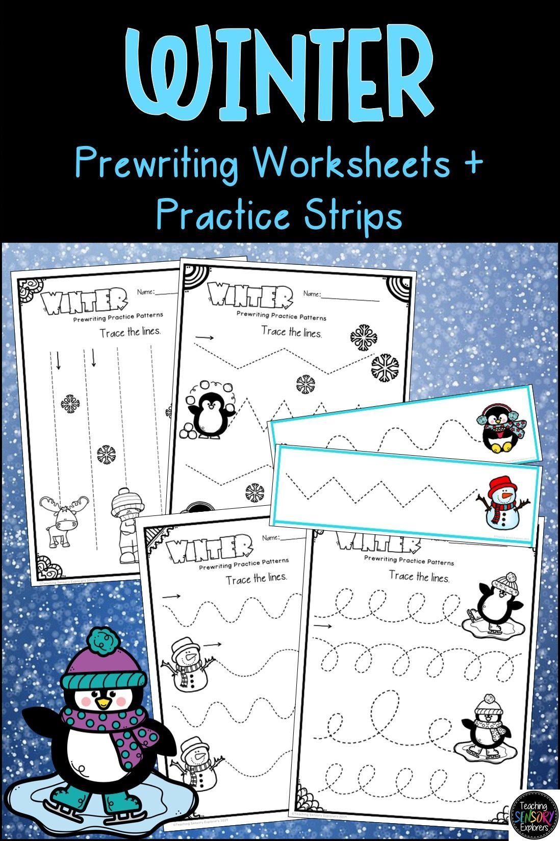 Prewriting Worksheets Practice Strips Winter