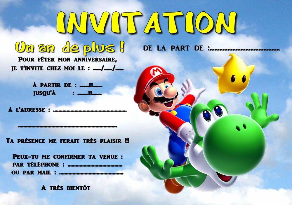Carte D Anniversaire Invitation Mario Lovely 5 Ou 12 Cartes Invitation Anniversaire Mari En 2020 Carte Invitation Anniversaire Invitation Anniversaire Carte Invitation