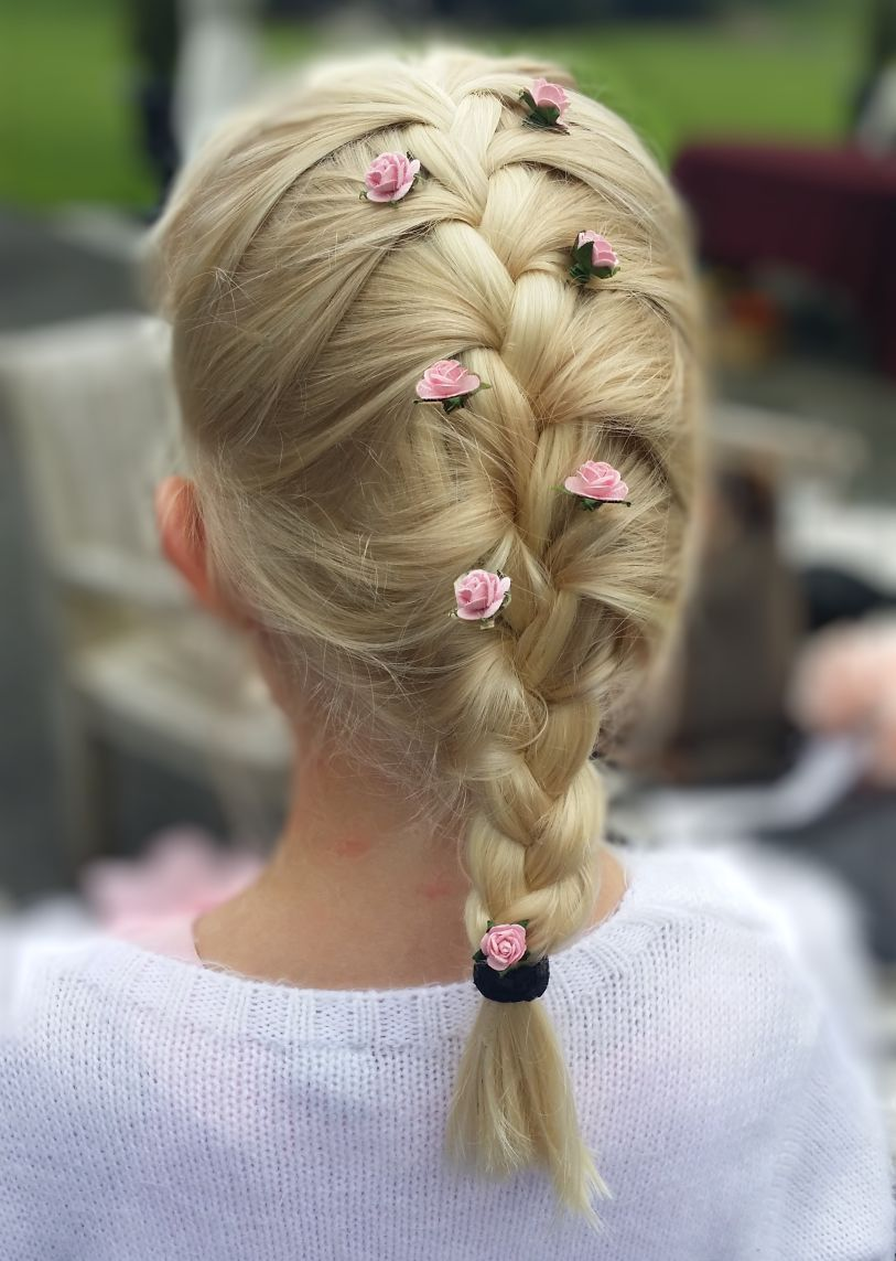 french braid and pretty pink flowers