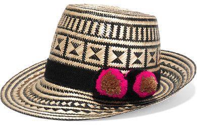 e105c7a7a74264 Yosuzi - Pompom-embellished Woven Straw Sunhat - Beige | Women Hats ...