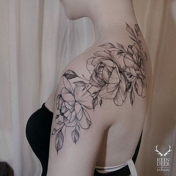 609021405 Black and White Rose Tattoo. 30+ Beautiful Flower Tattoo Designs. More