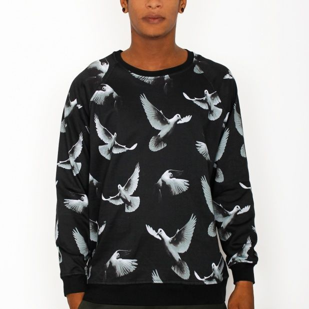 Dedicated Sweatshirt Doves Mönster i Svart - Tshirt Store Online