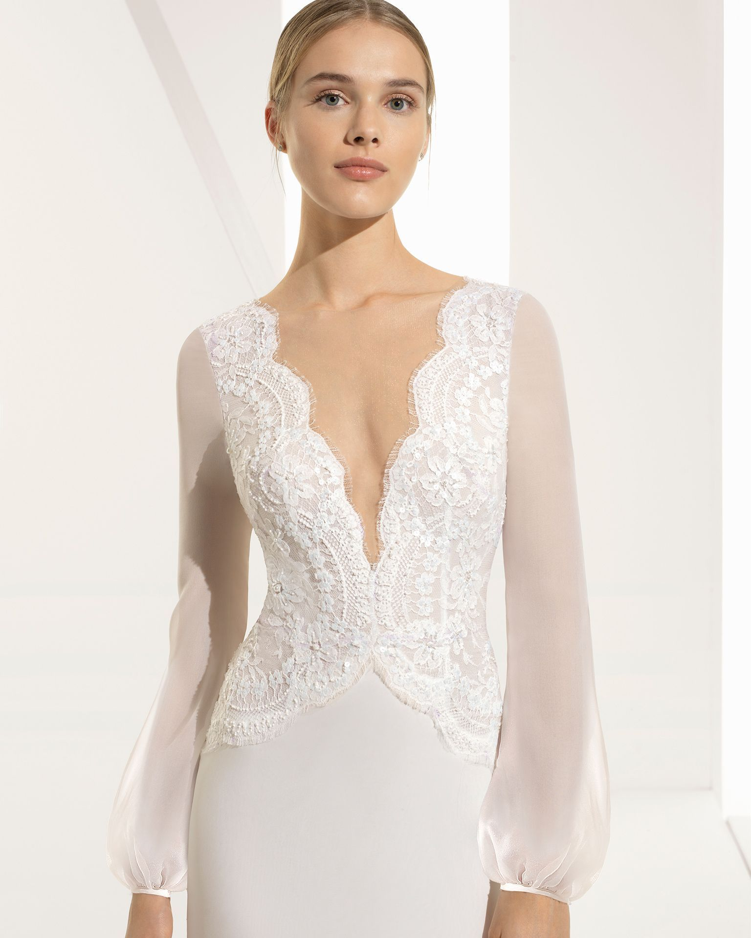 Ballgownstyle beaded lace and silk chiffon wedding dress with long