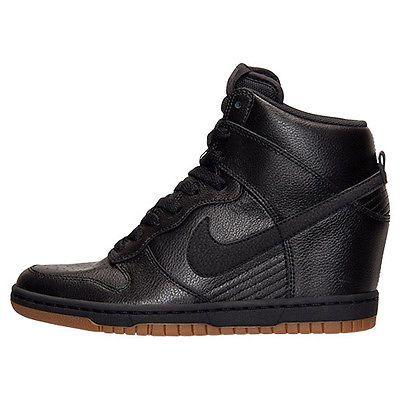a3e6d994867 Nike Dunk Sky Hi Essential Womens 644877-014 Black Gum Wedge Sneakers Size  8.5