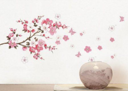 Amazon Com Wall Decor Removable Decal Sticker Cherry Blossoms Tree Branch Small Home Kitchen Wall Decor Stickers Wall Decor Decals Flower Wall Stickers