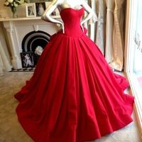 Long Puffy Prom Dresses Red Evening Dress Ball Gown Vestido De Festa Longo Vermelho-169$