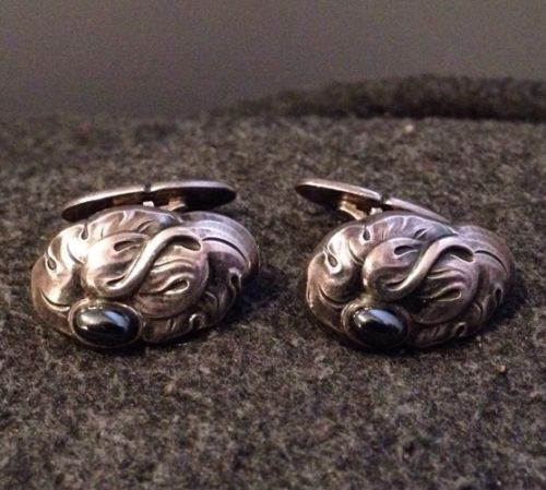 Georg Jensen Denmark RARE Antique Sterling Silver Hematite Cufflinks