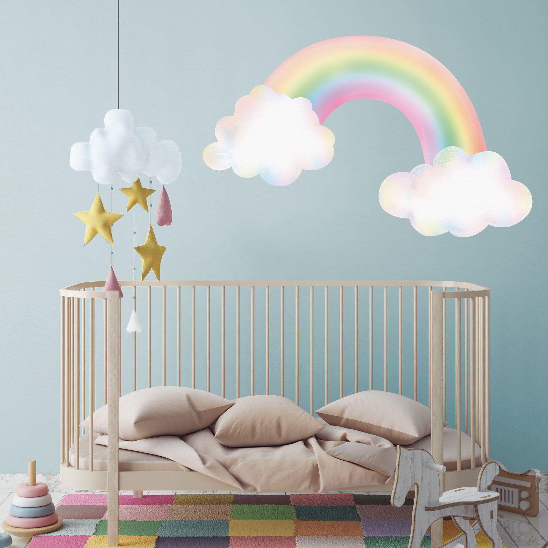Best Pastel Rainbow With Clouds Wall Sticker Rainbow Wall 640 x 480