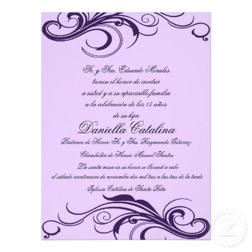 P rpura invitaciones de quinceanera card – Invitation Cards for Quinceanera