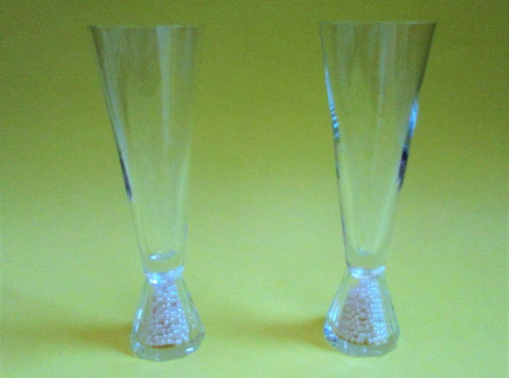 Oleg Cassini Crystal Glitter Set 2 Champagne Flutes Pearl Filled