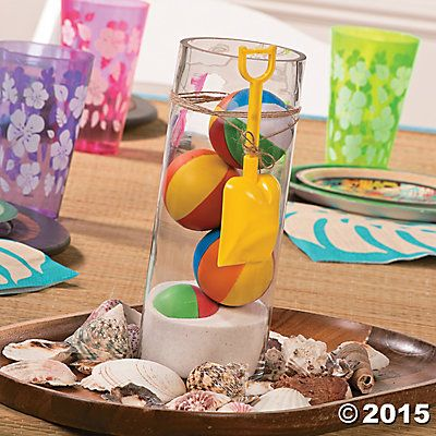 Beach Ball Centerpiece Idea You Ll Have A Ball Making These Summer Inspired Luau Centerpieces Beach Party Centerpieces Pool Birthday Party Beach Themed Party