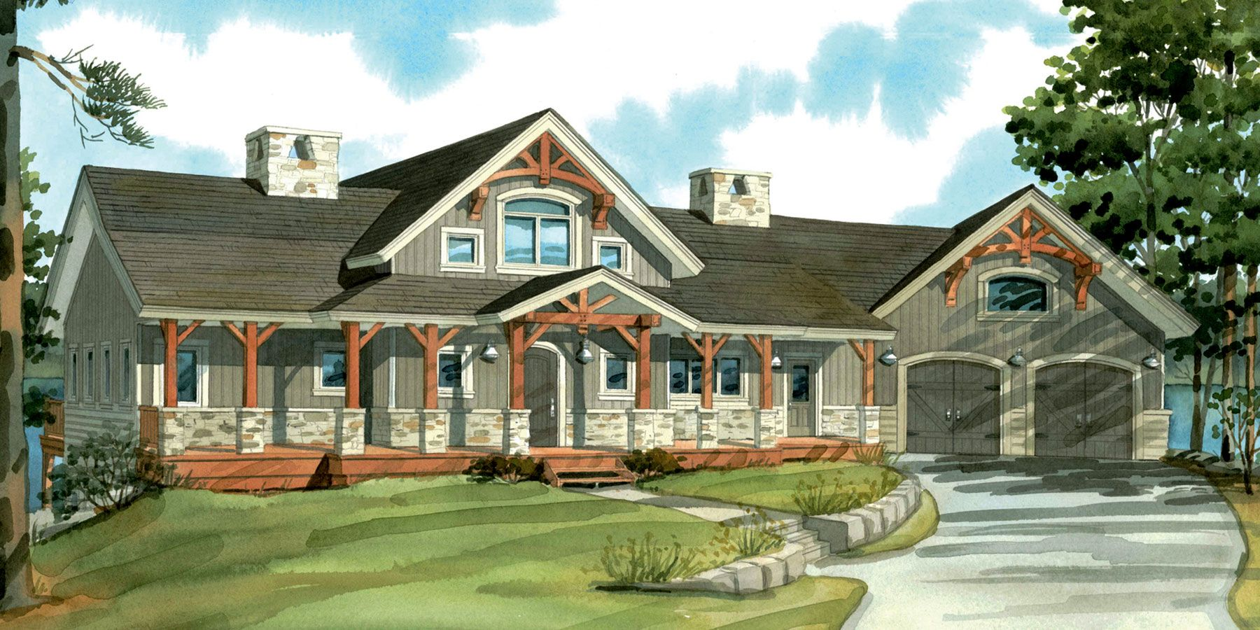 One story house plan with cathedral ceilings top 10 for Timber frame bungalow