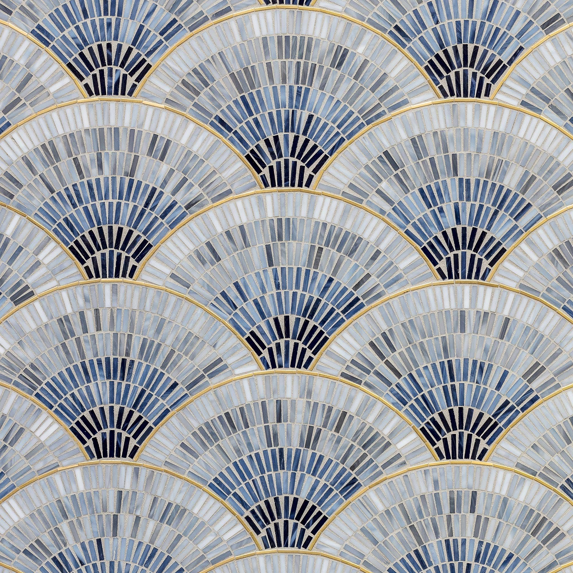 Glass Mosaic Tile Accentuated With Brass And Metal Make Glamorous Art Deco Statements Art Deco Tiles Art Deco Wallpaper Mosaic Glass