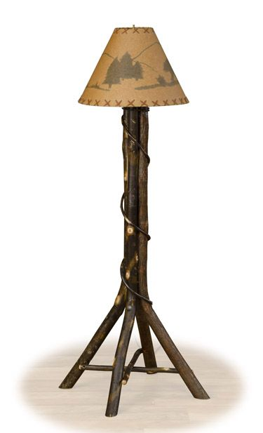 Log Floor Lamp, Hickory Floor Lamp, Rustic Cabin Furniture | Woodland Creek Furniture