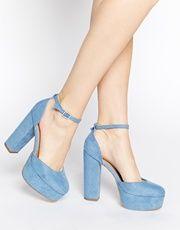 New Look Sound Blue Platform Heeled Shoes