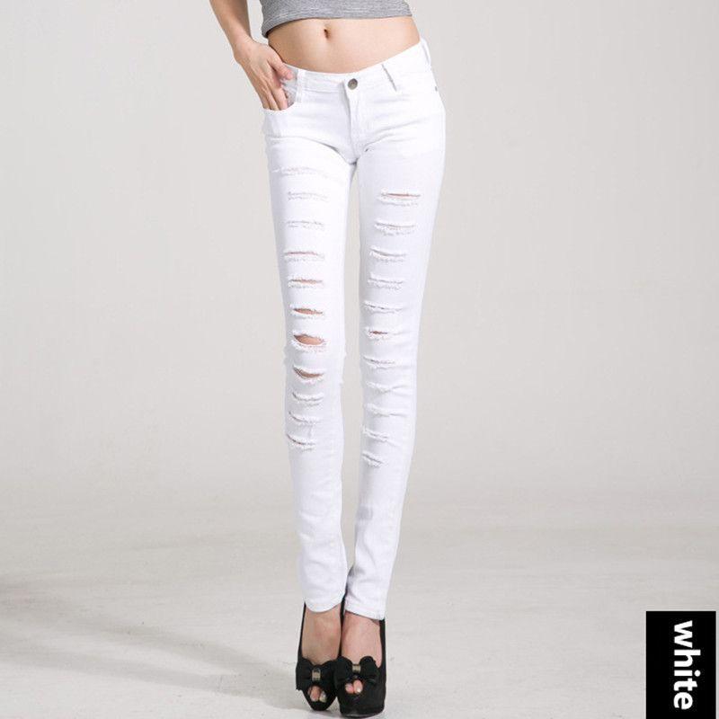 YI-NOKI Women Jeans Slimmer Elasticity Pencil Pants Holes Skinny ...