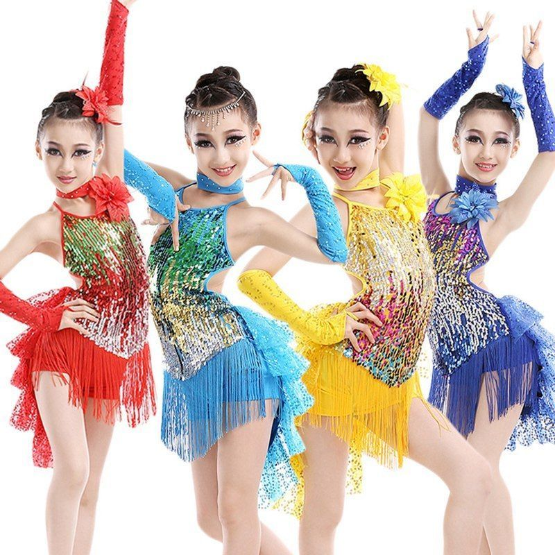 f3beadce7 New Girls Latin Dancewear Sequins Tassel Dancing Dress Shiny ...