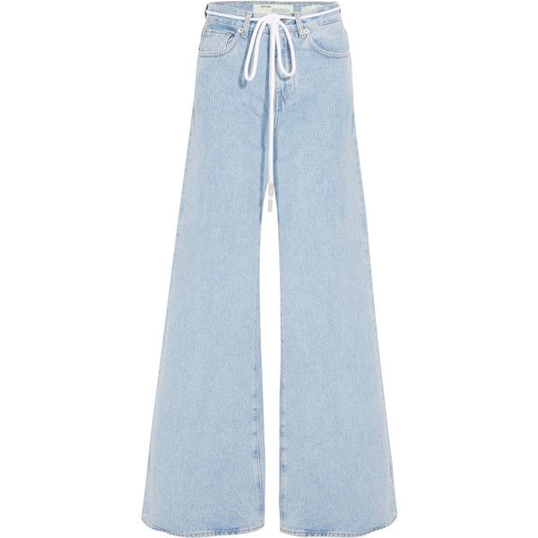 Off White High Rise Wide Leg Jeans 1 215 Brl Liked On