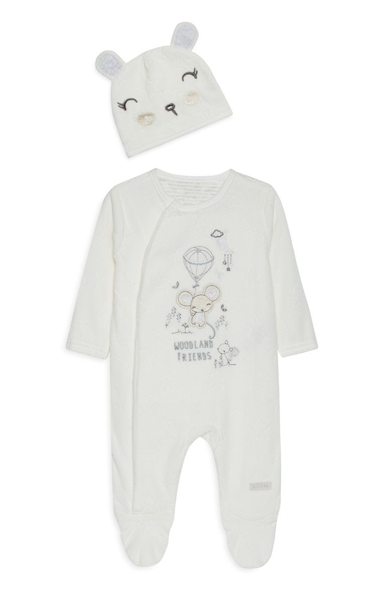 5a0aa4f1c Primark - White Unisex Velour Sleepsuit And Hat | 实物 | Pinterest ...