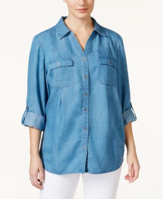 89572c9b Style & Co. Plus Size Denim Button-Down Shirt, Only at Macy's   PLUS ...