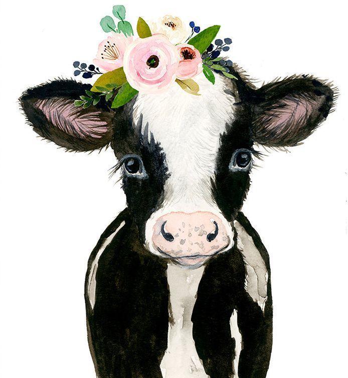 Bauernhof Kinderzimmer Dekor, Kuh Print, Baby Nutztiere, Baby Kuh Malerei, Kinderzimmer Kunst...