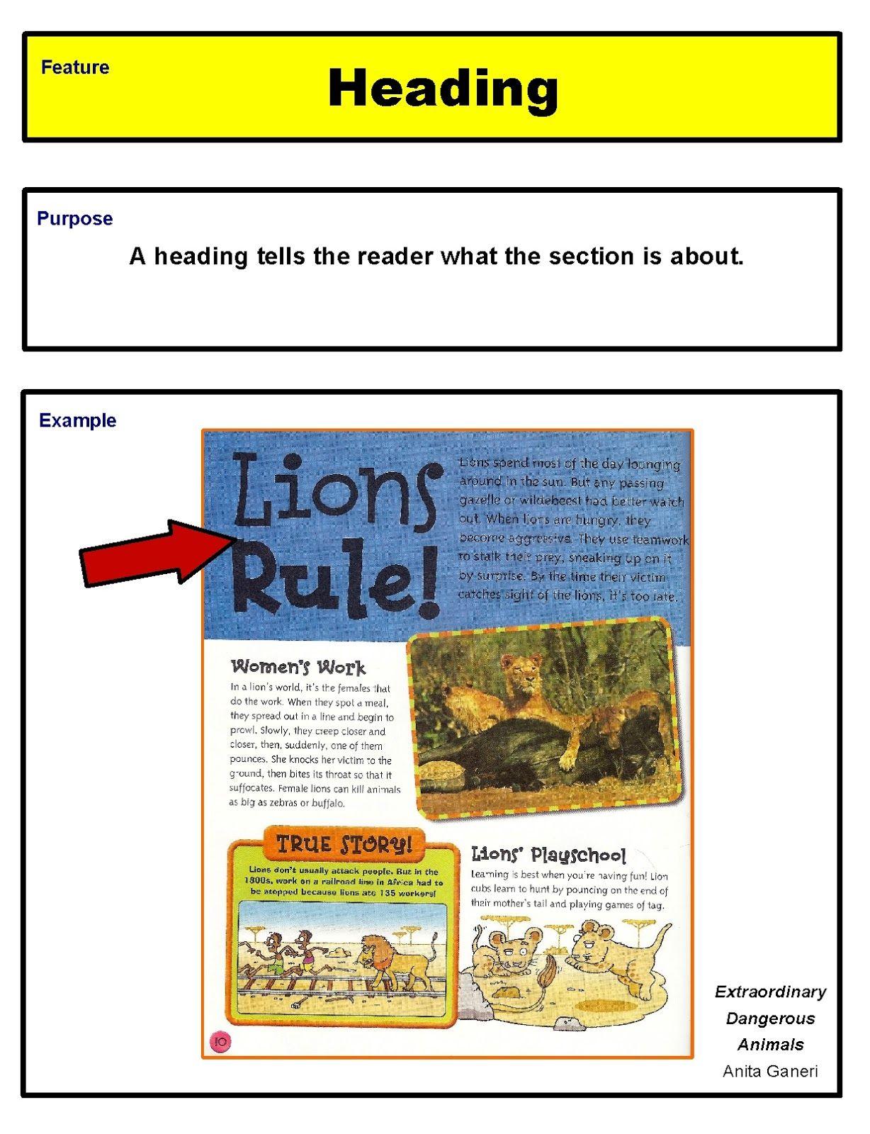 Ms Fultz S Corner Nonfiction Text Features