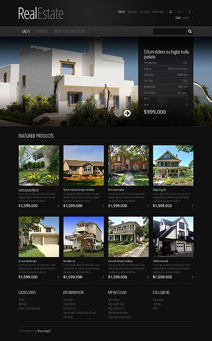 RealEstate Theme #ResponsiveDesign $140 #eCommerce #luxuryHomes - house for rent template