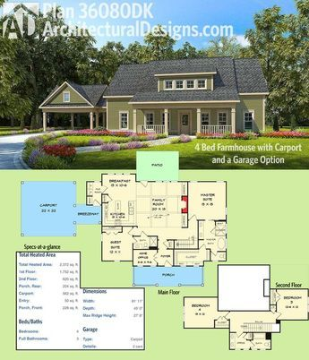 Plan 36080DK 4 Bed Farmhouse with Carport and a Garage Option