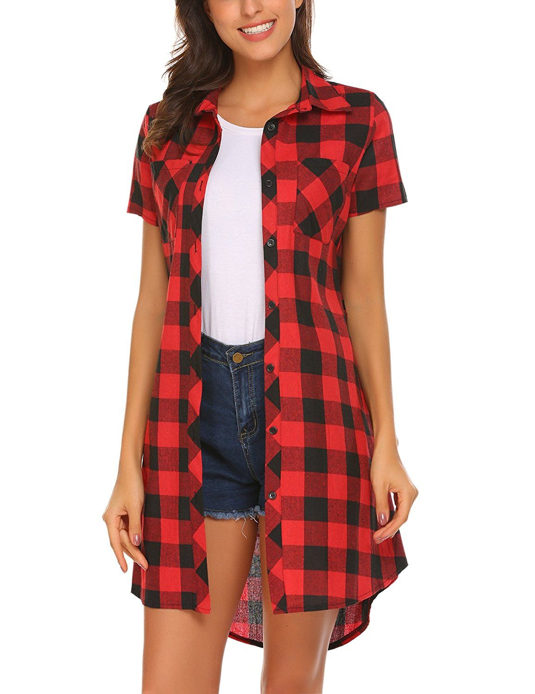 64f5f1a35d0 Hotouch Women Flannel Short Sleeve Belted Button Down Plaid Tunic Shirt  Dress