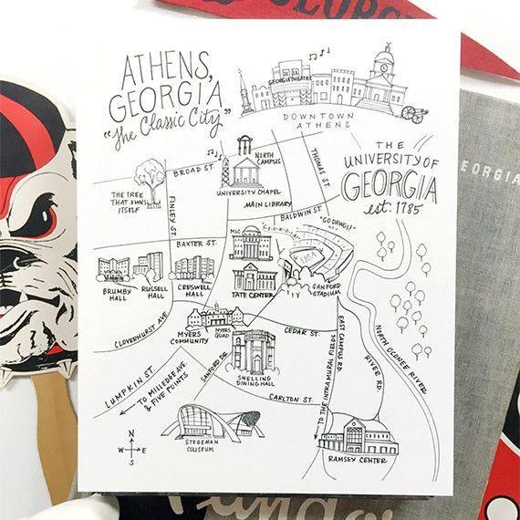 Uga Campus Map Print Pen Ink Canvas Pinterest University