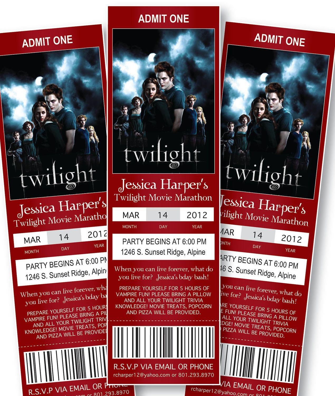 Movie Ticket Birthday Invitations: Twilight. $9.95, via Etsy ...