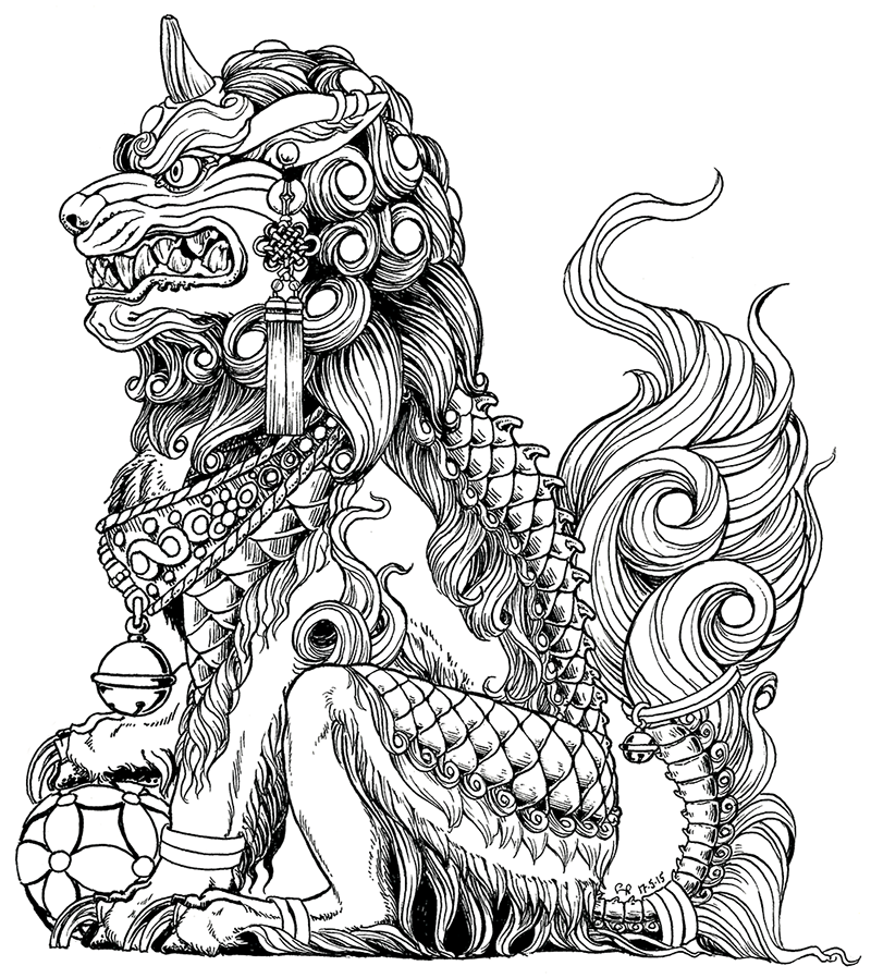 Male komainu (fu dog). One of a mostly symmetrical set I