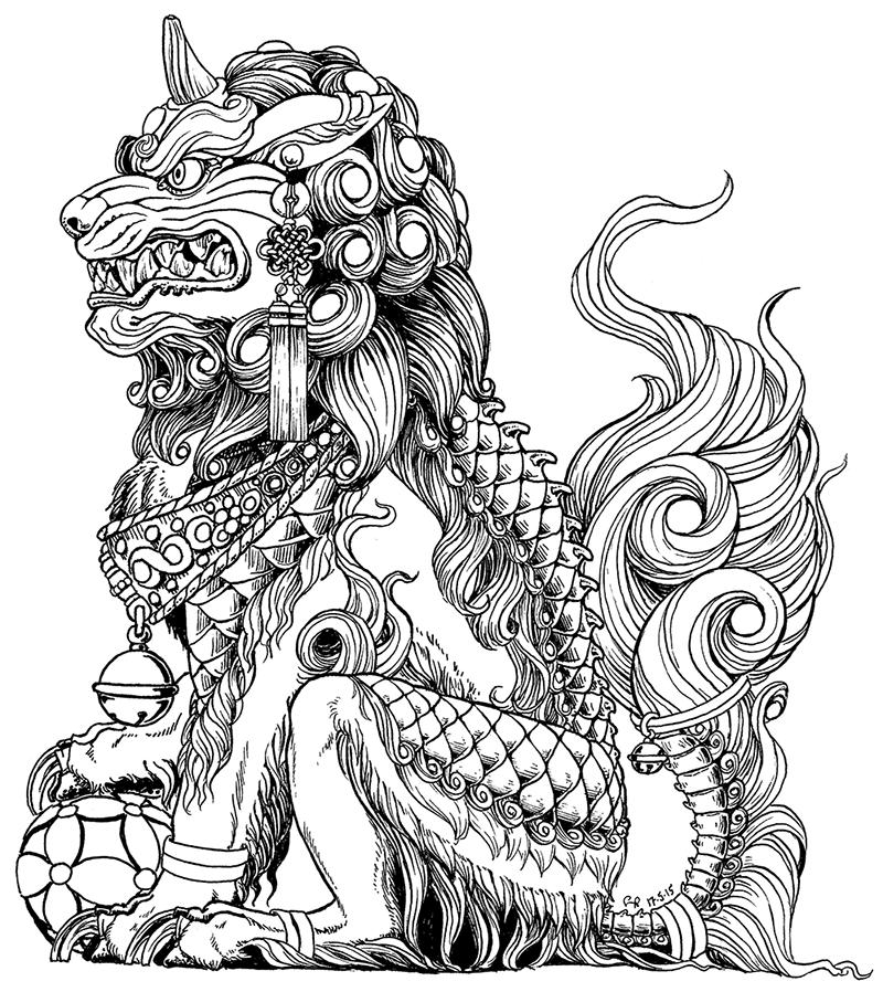 male komainu (fu dog). one of a mostly symmetrical set i