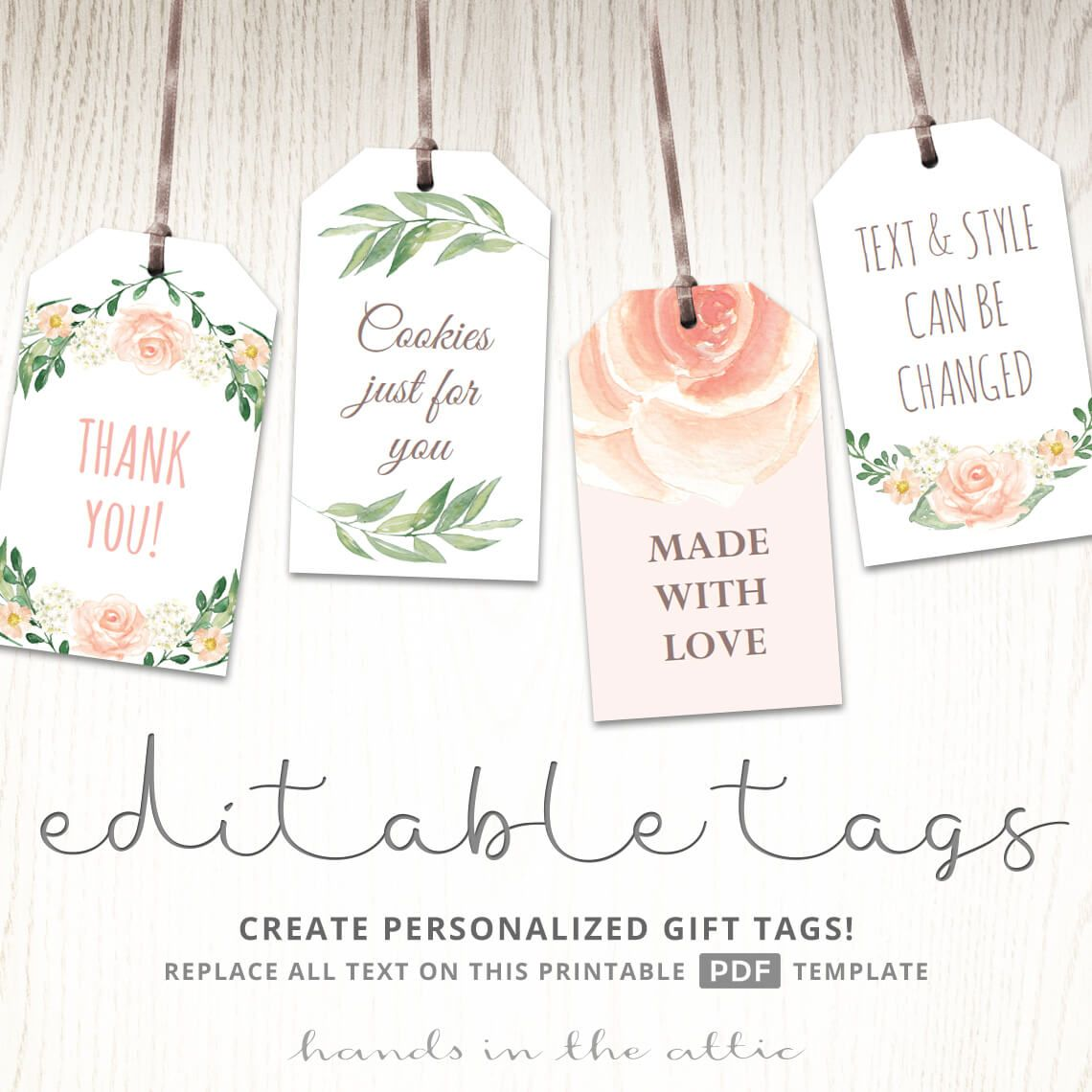 Printable Baby Shower Labels Bridal Shower Favor Tags Hands In The Attic Editable Gift Tags Gift Tags Printable Wedding Favor Gift Tags