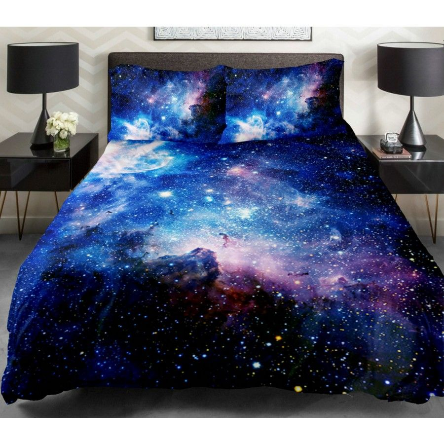 10 Cozy And Dreamy Bedroom With Galaxy Themes: Galaxy Bedding, Bedroom And Bed