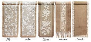 country table centerpieces | VINTAGE / Rustic COUNTRY Wedding Hessian Burlap & Lace TABLE RUNNERS