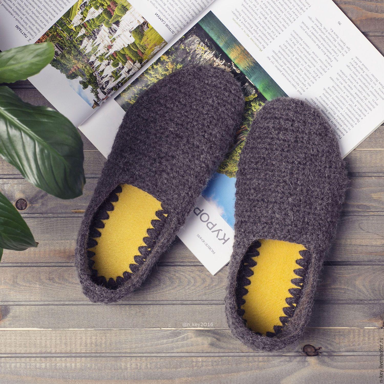 купить тапочки домашние вязаные коричневый тапочки вязание