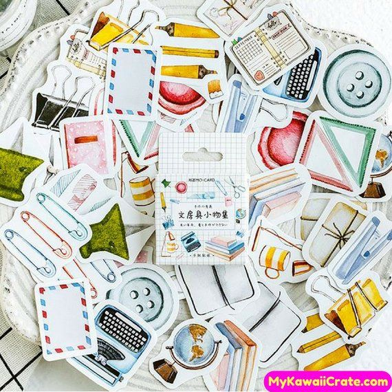 46PCS Forest DIY Scrapbooking Paper Adhesive Stickers Diary Planner Decoration