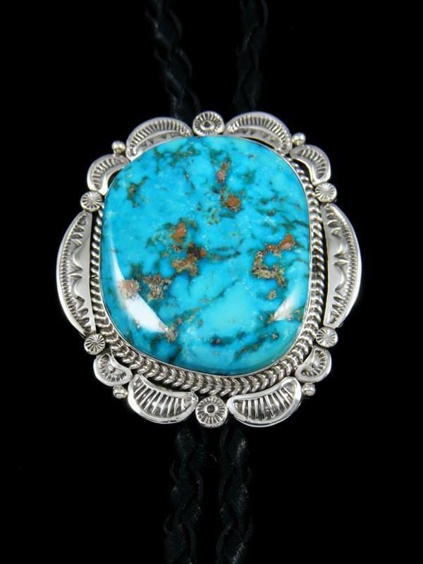 Native American Sterling Silver Blue Ridge Turquoise Bolo Tie