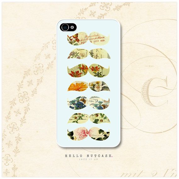@Martine Brooks  iPhone 4 and 4S case Floral Mustache by HelloNutcase on Etsy, $15.00