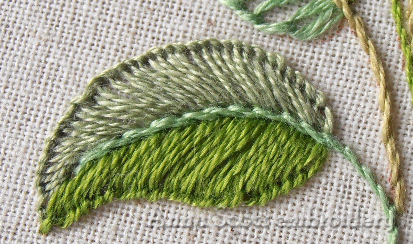 Anna scott blanket stitch leaves part two embroidary