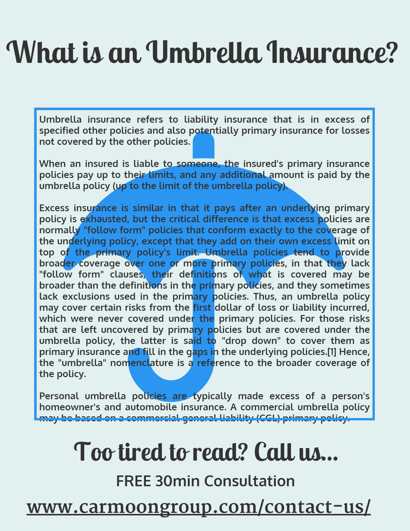 Contact Us Umbrella insurance, Personal insurance
