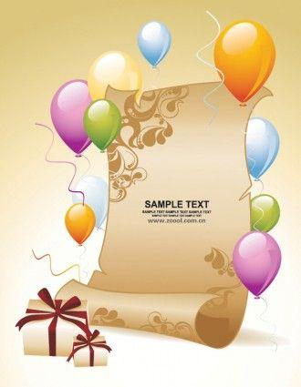 Ballon Geschenkpapier Hintergrund Vektor