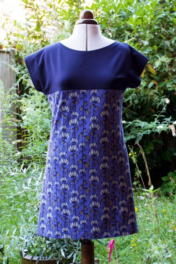 Einfaches Jerseykleid aus Kimono Tee Schnittmuster #shirtschnittmuster