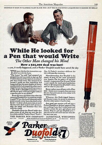 dating parker duofold pens